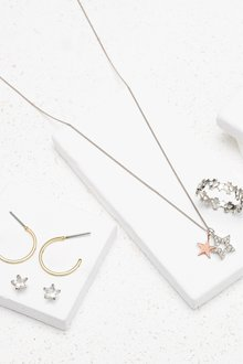 Next And Rose Gold Plated Star Charms Necklace