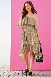 Next One Shoulder Ruffle Dress