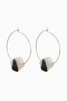 Next Semi Precious Bead Detail Hoop Earrings