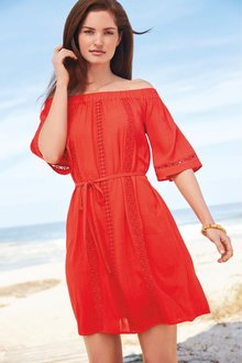 Next Lace Trim Bardot Dress- Tall