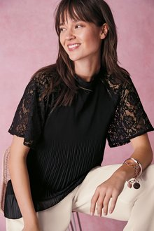 Next Lace Sleeve Pleat Top- Petite