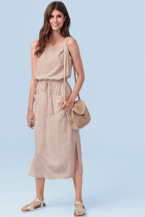 Next Linen Blend Midi Pocket Dress- Tall