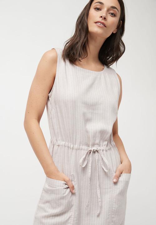 Next Linen Blend Midi Pocket Dress