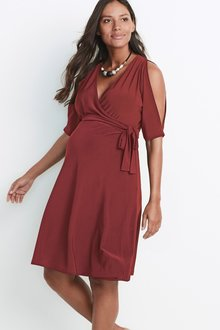 Next Maternity Cold Shoulder Wrap Dress