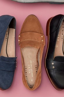 Next Leather Stud Loafers- Wide