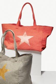 Next Star Print Canvas Shopper