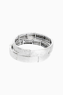 Next Brushed Effect Stretch Bracelet Two Pack