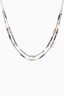 Next Multicolour Two Row Beaded Necklace