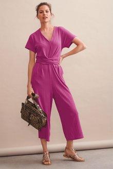 Next Textured Jersey Jumpsuit- Tall