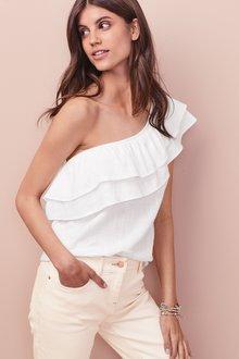 Next Linen Blend One Shoulder Top- Tall