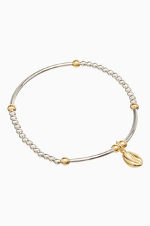 Next And 18 Carat Gold Plated Beady Shell Charm Friendship Bracelet