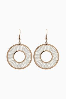 Next Circle White Bead Earrings
