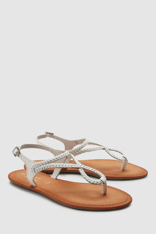 Next Leather Forever Comfort Plaited Toe Thong Sandals
