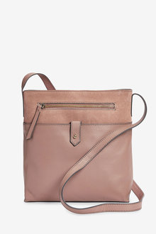 Next Leather And Suede Messenger Across-Body Bag