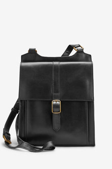 Next Signature Leather Messenger Bag