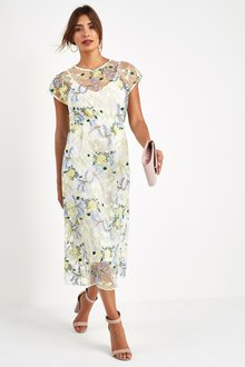 Next Floral Embroidered Mesh Midi Dress- Petite