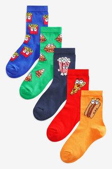 Next 5 Pack Cotton Rich Fast Food Socks (Older)