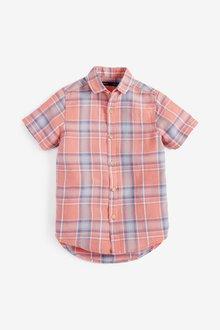 Next Short Sleeve Check Linen Blend Shirt (3-16yrs)
