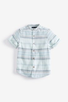 Next Short Sleeve Stripe Grandad Shirt (3-16yrs)