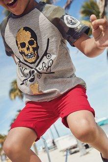 Next Camo Raglan Sequin Skull T-Shirt (3-16yrs)