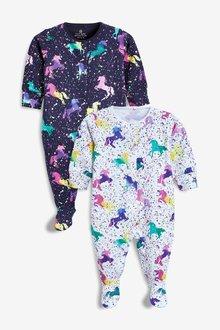 Next 2 Pack Unicorn Print Sleepsuits (0mths-2yrs)