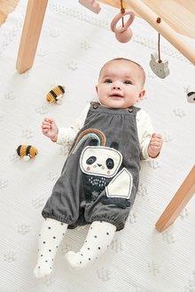 Next Panda Cord Dungaree, Bodysuit And Tights Set (0mths-2yrs)
