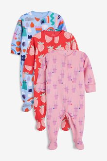 Next Character/Strawberry Sleepsuits Three Pack (0mths-2yrs)
