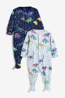Next 2 Pack Dinosaur Print Sleepsuits (0mths-2yrs)