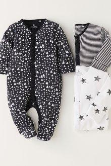 Next Multi Print Sleepsuits Three Pack (0mths-2yrs)