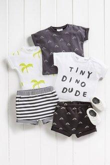 Next Dino Slogan And Print T-Shirts Three Pack (0mths-2yrs)