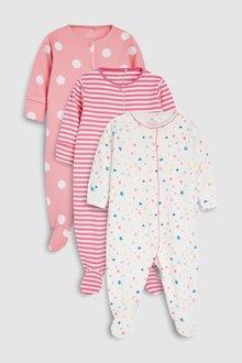 Next Stars And Stripe Sleepsuits Three Pack (0mths-2yrs)