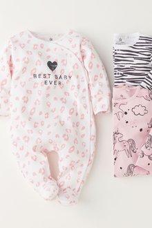 Next Unicorn/Animal Print Sleepsuits Three Pack (0mths-2yrs)