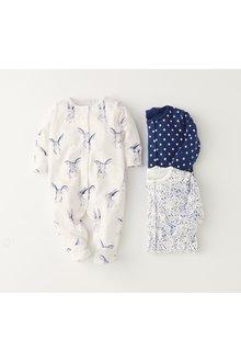 Next Rabbit/Floral Sleepsuits Three Pack (0mths-2yrs)