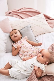 Next Bunny Embroidery And Floral Rompers Two Pack (0mths-2yrs)