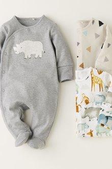 Next Rhino AppliquA Sleepsuits Three Pack (0mths-2yrs)