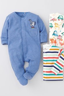 Next 3 Pack Watercolour Dog Sleepsuits (0mths-2yrs)