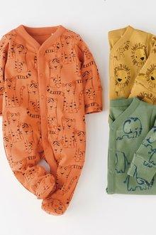 Next Multi Animal Sleepsuits Three Pack (0mths-2yrs)