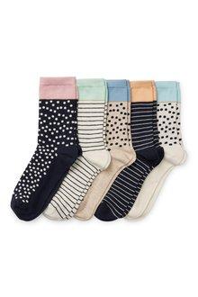 Next Pastel Tip Spot Ankle Socks Five Pack