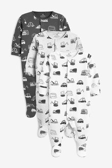 Next 3 Pack Transport Sleepsuits (0mths-2yrs)