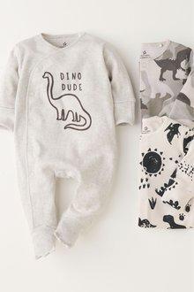 Next Dino Slogan Sleepsuits Three Pack (0mths-2yrs)