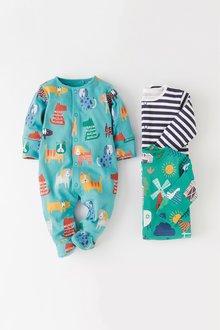 Next Farm Animal And Dog Print Sleepsuits Three Pack (0mths-2yrs)
