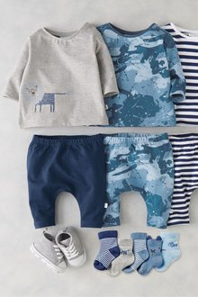 Next Lion Stripe And Camouflage T-Shirts Three Pack (0mths-2yrs)
