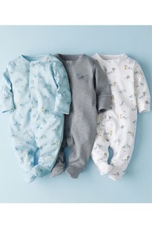 Next Delicate Lion Print Sleepsuits Three Pack (0mths-2yrs)