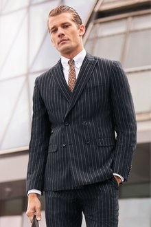 Next Stripe Suit: Jacket- Double Breasted Slim Fit - 239626