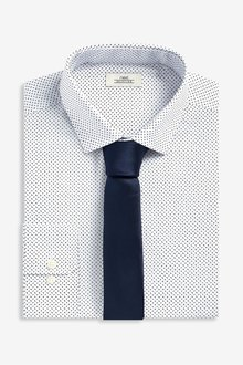 Next Dot Print Shirt With Tie Set- Skinny Fit Single Cuff