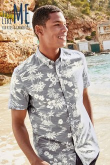 Next Hawaiian Leaf Short Sleeve Shirt
