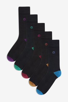 Next Cushioned Sole Contrast Heel And Toe Socks Five Pack