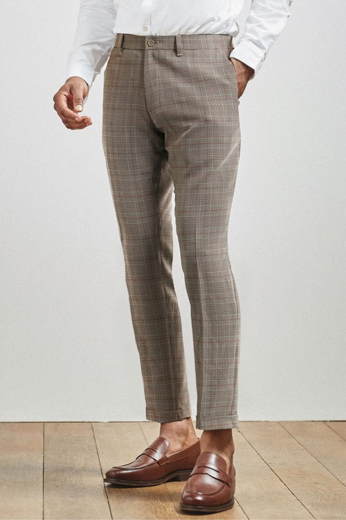 Next Check Skinny Fit Trousers