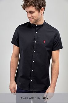 Next Short Sleeve Slim Stretch Oxford Grandad Shirt