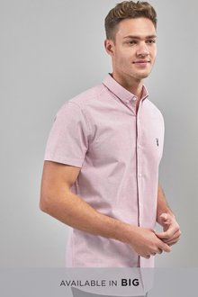 Next Slim Fit Short Sleeve Stretch Oxford Shirt